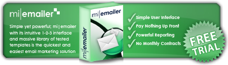 Picture outlining benefits and free trial for our mi|emailer Email Marketing Software